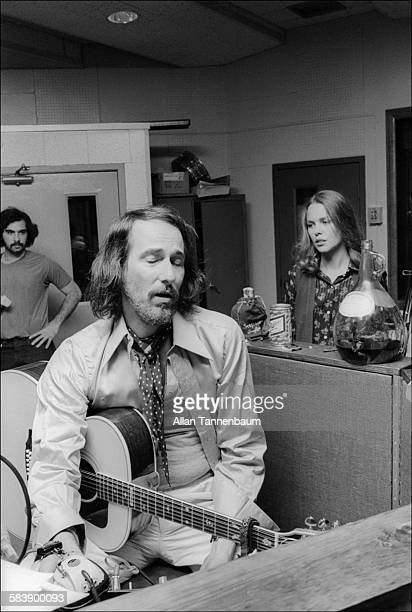 John Phillips and his wife Michelle Phillips both of the group the Mamas and the Papas at the Mediasound recording studio New York New York May 6 1974