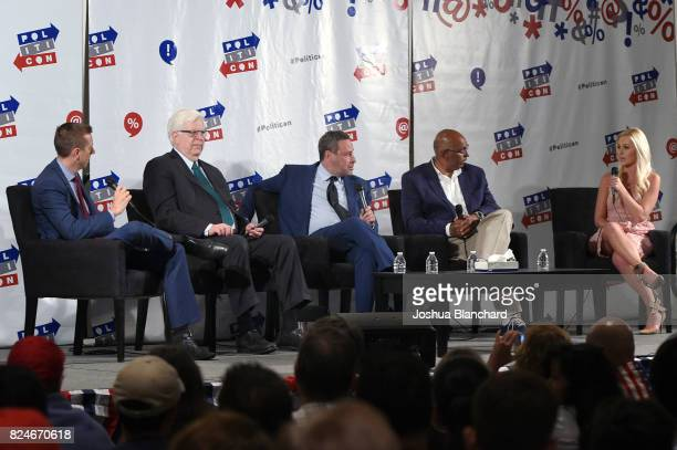 John Phillips Dennis Prager David Frum Michael Steele and Tomi Lahren at the 'Now What Republicans' panel during Politicon at Pasadena Convention...