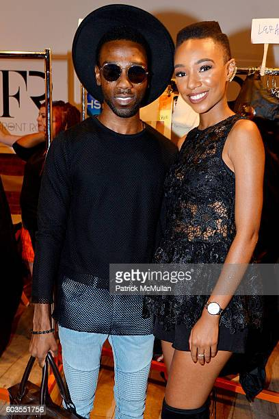 John Pierre and Kriss Mincey attend Serena Williams Signature Statement Collection By HSN Backstage September 2016 Style360 Fashion Week at KIA...