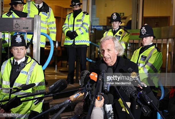 John Pilger talks to reporters at Westminster Magistrates court after attending Wikileaks founder Julian Assange's bail appeal on December 14, 2010...