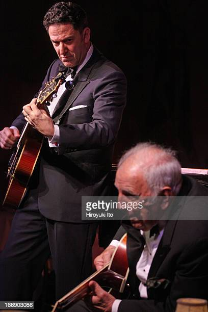 John Pizzarelli Quartet with a special guest Bucky Pizzarelli at Cafe Carlyle on Wednesday night April 10 2013This imageFrom left John Pizzarelli and...