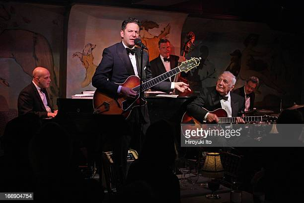 John Pizzarelli Quartet with a special guest Bucky Pizzarelli at Cafe Carlyle on Wednesday night April 10 2013This imageFrom left Larry Fuller John...