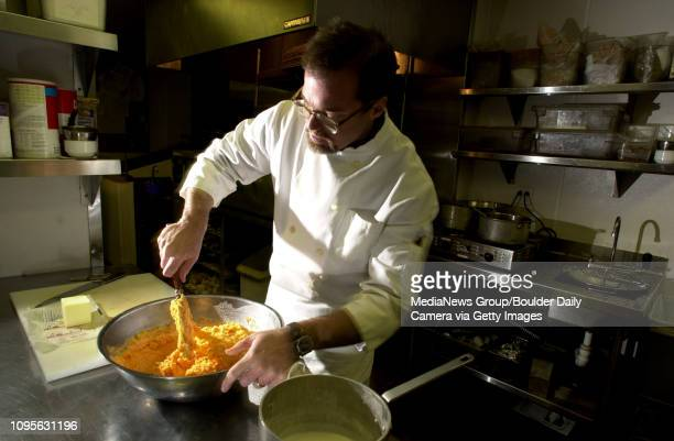 John Platt of Q's Restaurant mixes up Yukon Gold Potatoes and Ginger Infused Carrots