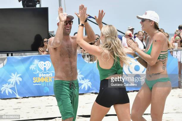 John Plummer Katrina Bowden and Katie Hogan play volleyball at the iHeartSummer '17 Weekend By ATT Day 2 at Fontainebleau Miami Beach on June 10 2017...