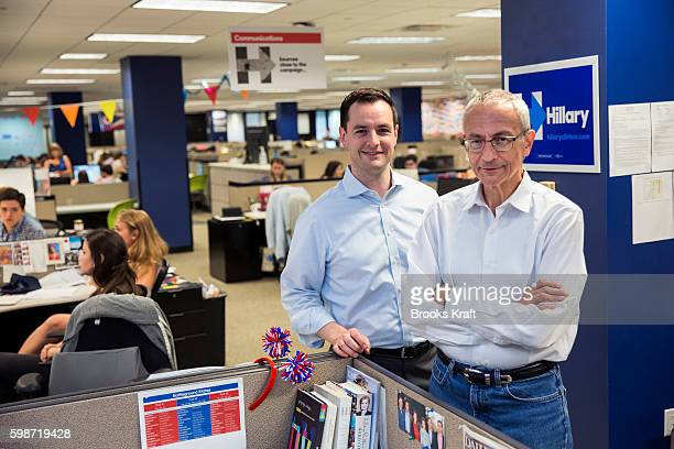 John Podesta Campaign Chairman and Robby Mook Campaign Manager for Democratic presidential candidate Hillary Clinton inside the campaign headquarters...