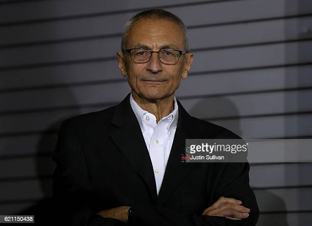John Podesta campaign chairman for Democratic presidential nominee former Secretary of State Hillary Clinton looks on during a campaign rally at The...