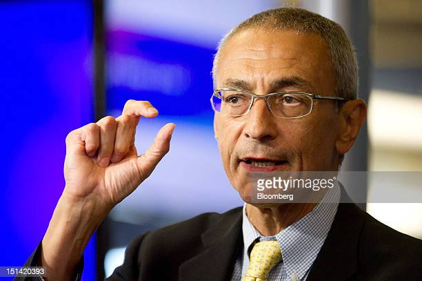 John Podesta chairman of the Center for American Progress speaks during an event inside the Bloomberg Link during day three of the Democratic...