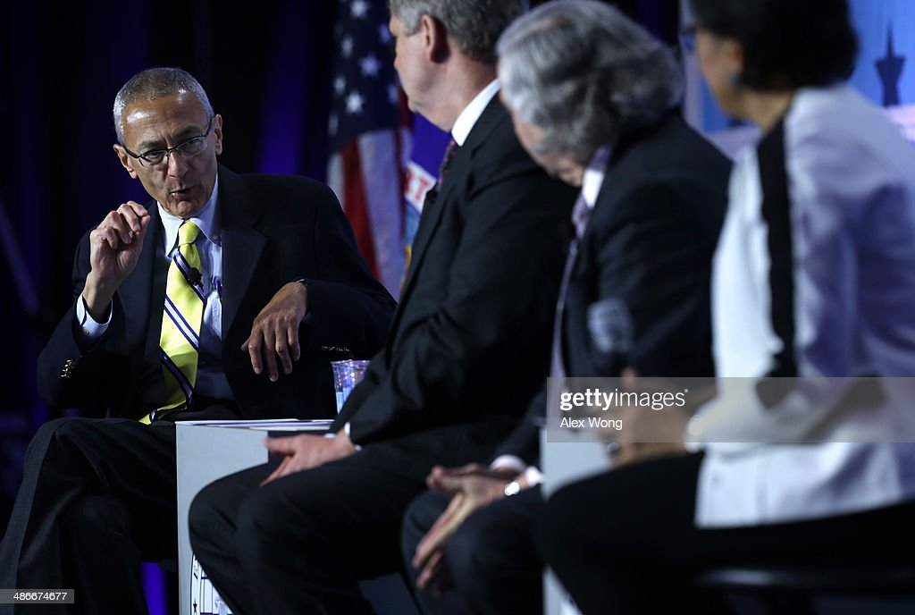 John Podesta, counselor to President Obama, U.S. Agriculture Secretary Tom Vilsack, Energy Secretary Ernest Moniz, and Commerce Secretary Penny Pritzker participate in a discussion on 'The Trade Agenda for the Second Term' during the 2014 annual conference of the Export-Import Bank (EXIM) April 25, 2014 in Washington, DC. The two-day event focused on global business environment and prospects for growth.