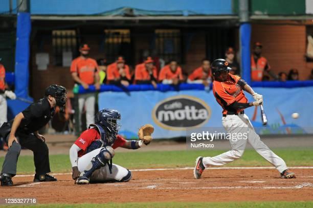 John Polonius kicks the ball during the Baseball match Baseball European Championship 2021 - Quarter finals - Netherlands vs Great Britain on...