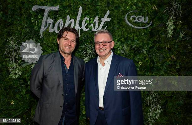 John Polson and Don Harwin NSW Arts Minister at Tropfest Opening Night at Old Government House Parramatta on February 8 2017 in Sydney Australia