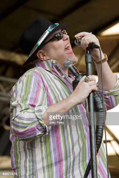 John Popper of Blues Traveler performs at a free concert to celebrate the beginning of the Indiana Pacers' 10th season at Conseco Fieldhouse on...