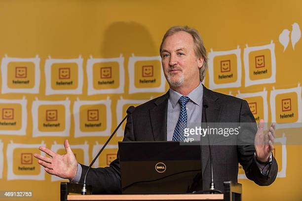 John Porter, CEO of Telenet, speaks during a press conference dedicated to the announcement of Belgian telecom group Telenet's 2013 year results, at...