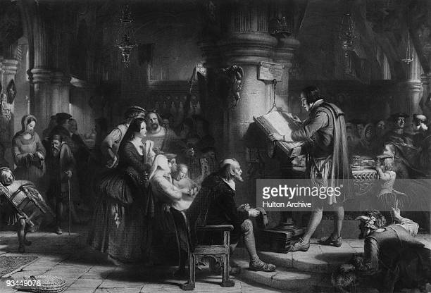 John Porter making the first bible reading in the crypt of old St Paul's cathedral London 1540 Amongst those present are Bishop of Winchester Stephen...