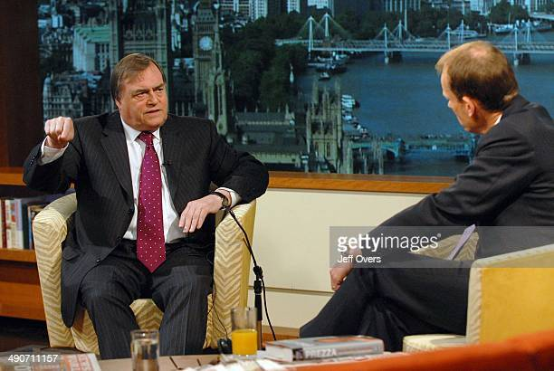John Prescott being interviewed by Andrew Marr during the BBC One current affairs programme the Andrew Marr Show May 25th 2008