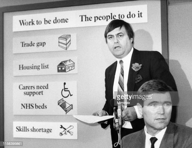 John Prescott MP Member of Parliament for Hull East and Shadow Secretary of State for Employment news press conference Wednesday 20th May 1987