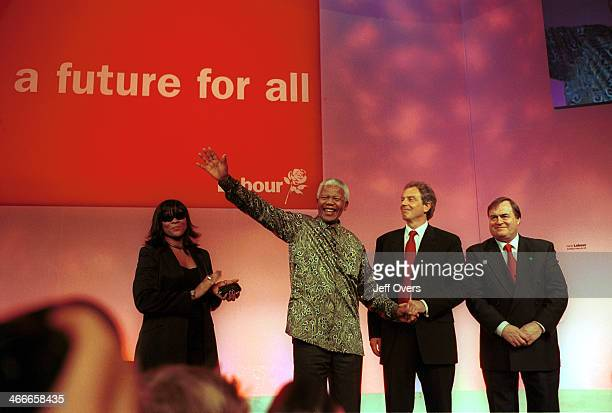 John Prescott right and Tony Blair with Nelson Mandela and Gabrielle at the Labour Party conference 2000Deputy Prime Minister Rt Hon John Prescott...