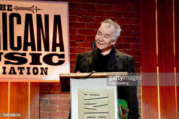 John Prine accepts an award onstage during the 2018 Americana Music Honors and Awards at Ryman Auditorium on September 12 2018 in Nashville Tennessee