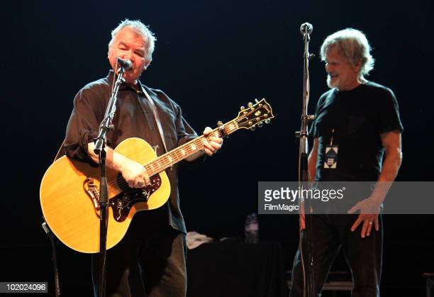 John Prine and Kris Kristofferson perform onstage during Bonnaroo 2010 at That Tent on June 12 2010 in Manchester Tennessee