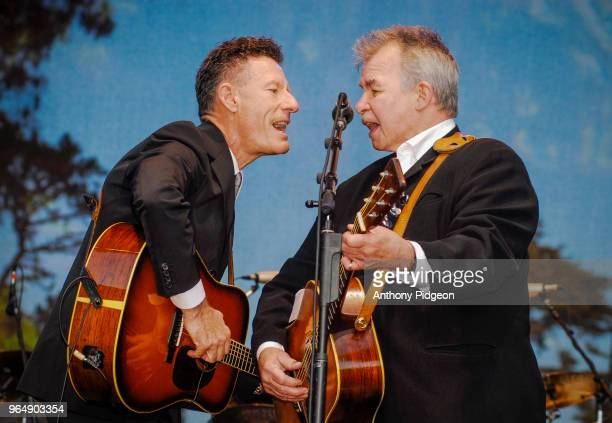 John Prine performs on stage with Lyle Lovett at Hardly Strictly Bluegrass festival in Golden Gate Park San Francisco California on 2nd October 2009