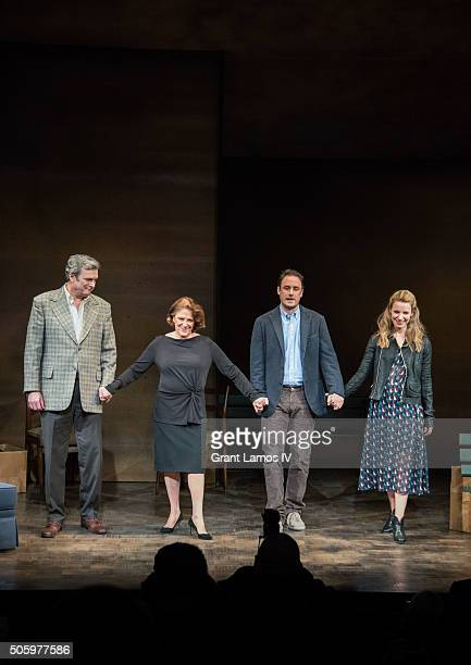 John Procaccino Linda Lavin Greg Keller and Kate Arrington pose during the cutrain call for Our Mother's Brief Affair at Samuel J Friedman Theatre on...