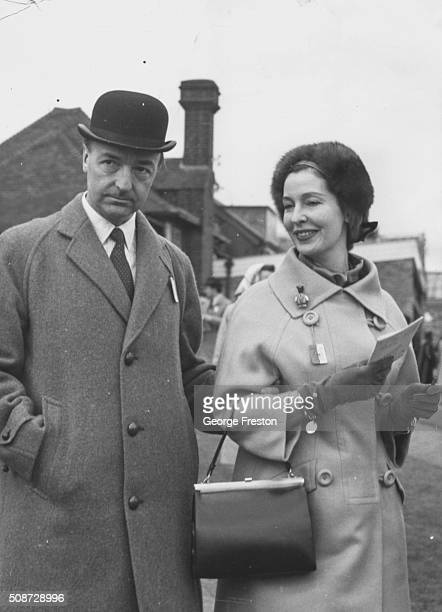 John Profumo Secretary of State for War with his wife Valerie Hobson attending the races at Sandown Park London March 22nd 1963