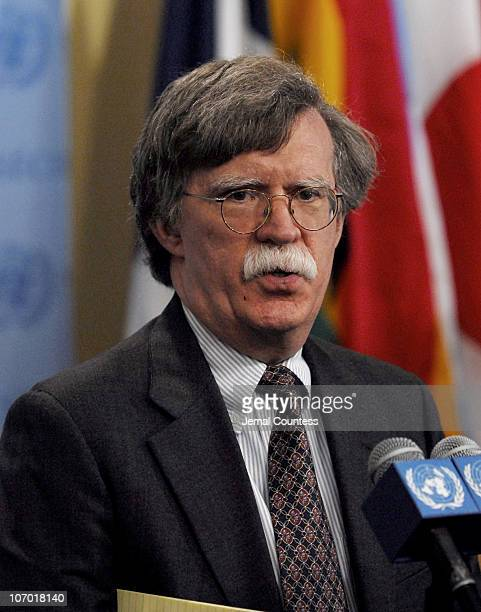 John R Bolton UN Ambassador and US Representative to the United Nations briefs press at United Nations on July 25 2006