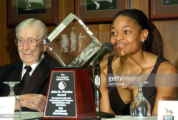 John R Wooden and Alana Beard of Duke University Recipient of the 1st John R Wooden Award for Women