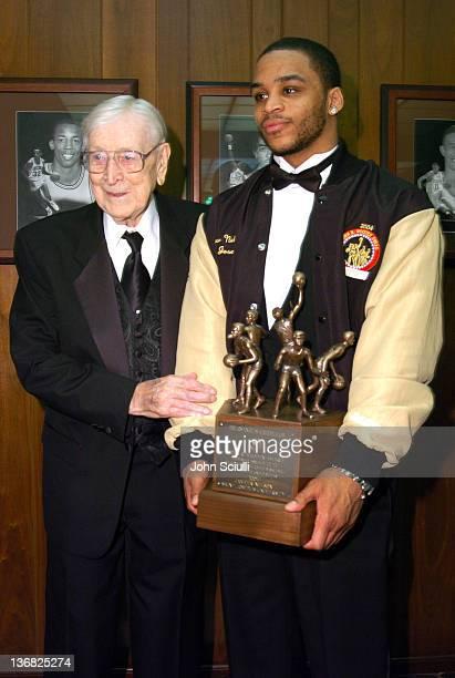 John R Wooden and Jameer Nelson of Saint Joseph's University