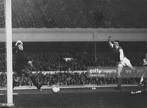 John Radford equalises past Anderlecht goalkeeper JeanMarie Trappeniers during the second leg of the 1970 InterCities Fairs Cup Final played at...