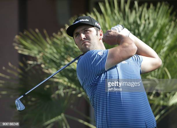 John Rahm of Spain plays a tee shot on the 17th hole during practice for the CareerBuilder Challenge at the Jack Nicklaus Tournament Course at PGA...