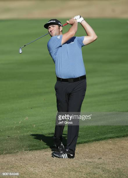 John Rahm of Spain plays his second shot on the 16th hole during practice for the CareerBuilder Challenge at the Jack Nicklaus Tournament Course at...