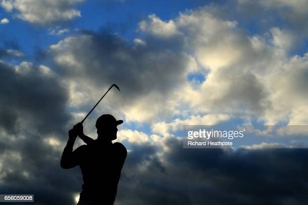 John Rahm of Spain warms up on the driving range ahead of a practise round for the WGC Dell Match Play at Austin Country Club on March 21 2017 in...