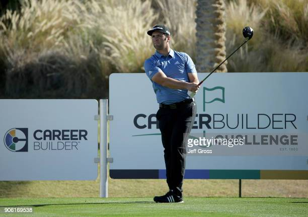 John Rahm of Spain watches his tee shot on the 18th hole during practice for the CareerBuilder Challenge at the Jack Nicklaus Tournament Course at...