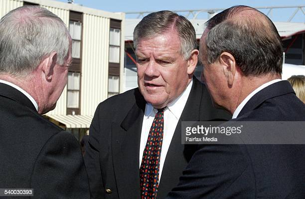 John Raper Bob McCarthy and Reg Gasnier outside after the funeral for Allan McMahon at St Francis Xavier Cathedral in Wollongong 29 May 2003 ILM...
