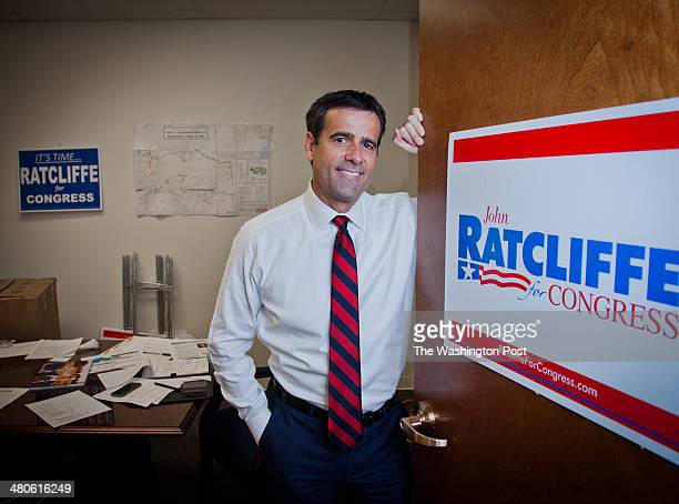 John Ratcliffe who is running for Congress against Rep Ralph Hall poses at his campaign headquarters inside an office building in Heath Texas on...