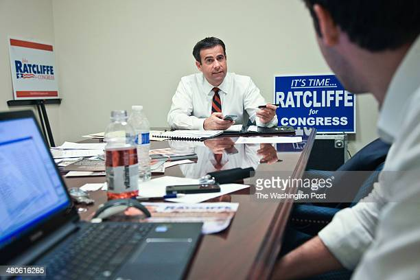John Ratcliffe who is running for Congress against Rep Ralph Hall works with campaign manager Daniel Kroese from his tworoom campaign headquarters...