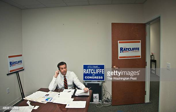 John Ratcliffe who is running for Congress against Rep Ralph Hall makes calls from his tworoom campaign headquarters inside an office building in...