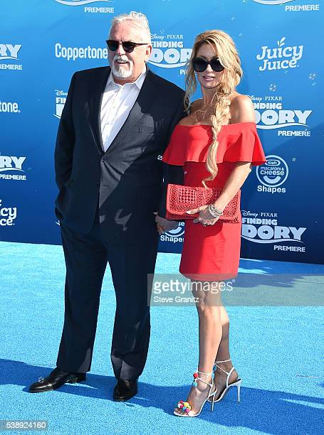 John Ratzenberger and Julie Blichfeldt arrives at the The World Premiere Of DisneyPixar's Finding Dory at the El Capitan Theatre on June 8 2016 in...
