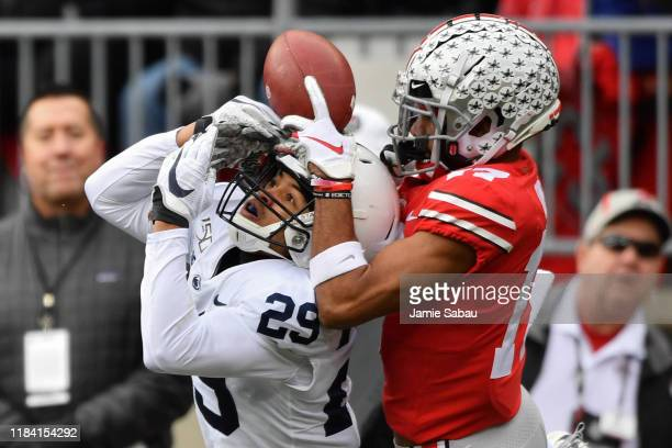 John Reid of the Penn State Nittany Lions breaks up a pass intended for Chris Olave of the Ohio State Buckeyes in the first quarter at Ohio Stadium...