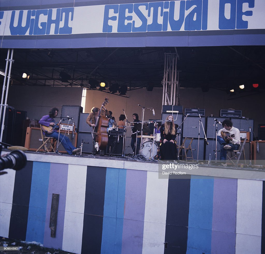 John Renbourn, Danny Thompson, Jacqui McShee and Bert Jansch of Pentangle perform on stage at the Isle of Wight Festival on August 31, 1969.