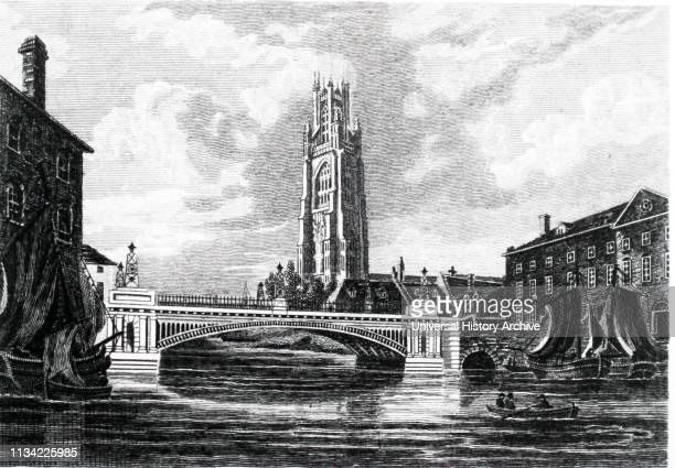 John Rennie's first cast iron bridge at Boston Lincolnshire showing St Botolph's Church and the bridge across the River Witham Engraving after a...