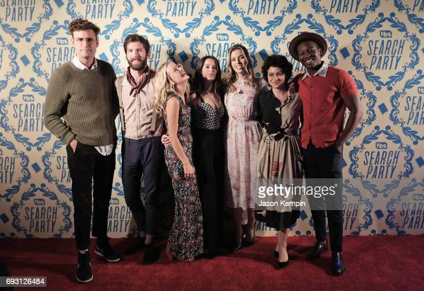 """John Reynolds, Charles Rogers, Meredith Hagner, Lilly Burns, Sarah-Violet Bliss, Alia Shawkat, and Brandon Michael Hall attend the """"Search Party"""" FYC..."""