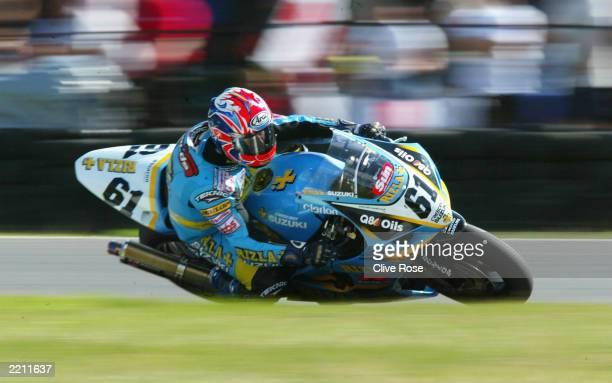 John Reynolds of Great Britian and Rizla Suzuki during the British Round of the World Super Bike Championship on July 27, 2003 at Brands Hatch,...