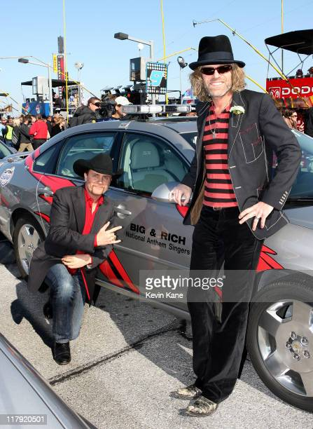 John Rich and Big Kenny of Big and Rich sing the National Anthem prior to the 2007 Daytona 500 at the Daytona International Speedway Dayton Beach...