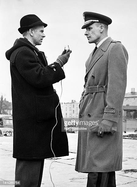 NBC News' Berlin News Chief/foreign correspondent John Rich interviewing a German officer while in Sovietoccupied Berlin covering the division of the...