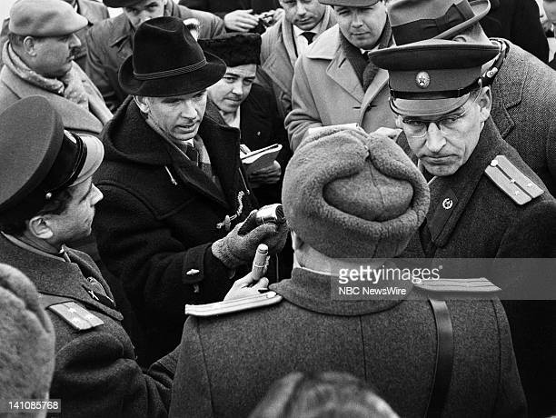 NBC News' Berlin News Chief/foreign correspondent John Rich interviewing Soviet officers while in Sovietoccupied Berlin covering the division of the...