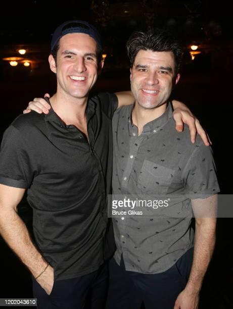 John Riddle and Ben Crawford pose at the 32nd Anniversary Performance and Party for The Phantom of The Opera on Broadway at The Majestic Theatre on...