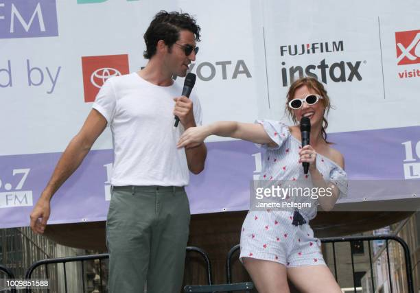 John Riddle and Patti Murin from the cast of Frozen perform at 1067 LITE FM's Broadway in Bryant Park on August 2 2018 in New York City
