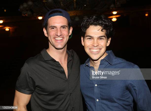 John Riddle and Rodney Ingram pose at the 32nd Anniversary Performance and Party for The Phantom of The Opera on Broadway at The Majestic Theatre on...