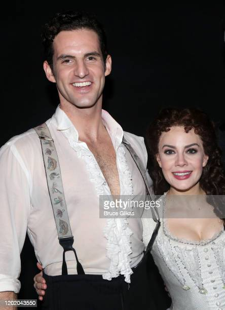 """John Riddle as """"Raoul, Vicomte de Chagny"""" and Meghan Picerno as """"Christine Daae"""" pose backstage at the 32nd Anniversary Performance and Party for..."""